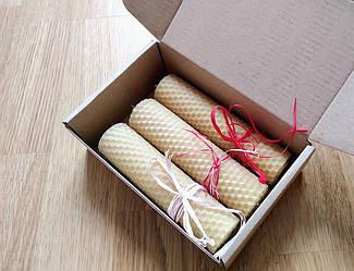 Свечи из вощины  ручной работы в подарочной упаковке h13 см d3 см. 3шт. Свечи из пчелиного воска ручной работы