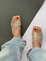 Жіночі шкіряні шльопанці з камінням. Розмір 36-41, фото 1
