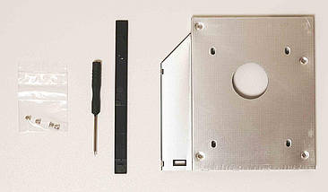 50 шт. Карман для установки второго жесткого диска SATA в отсек DVD 12.7 мм SATA (optibay caddy) алюминий, фото 3