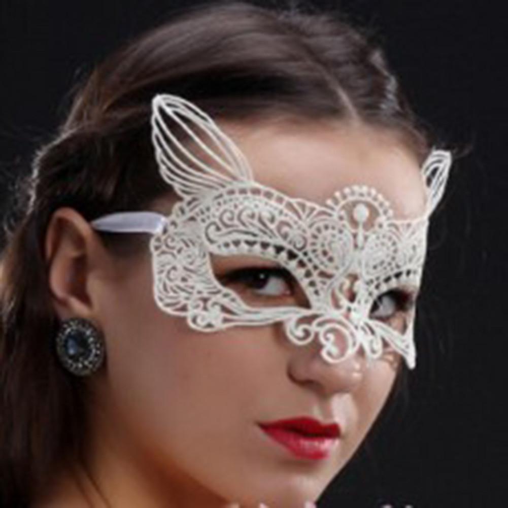 Ажурна маска з вушками. Біла
