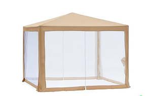 Садовый павильон с москитной сеткой ТЕ-1040 Бежевый размер 3 х 3 метра (Time Eco TM)