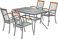 Набор садовой мебели из метала, 4 кресло и стол 150 см (Покрытие против ржавчины)