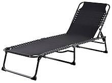 Шезлонг лежак садовый складной черный 190 см