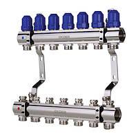 """Колекторний блок з термостатичними клапанами KOER KR.1100-07 1"""" на 7 вих."""
