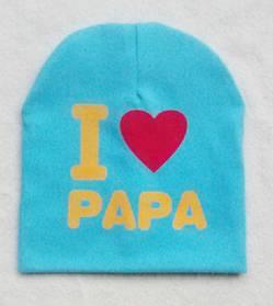 Шапка детская весна-осень I love papa голубая 2860