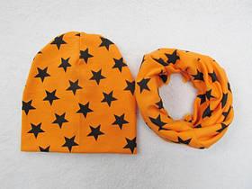 Набір шапка+хомут Star оранж 3444