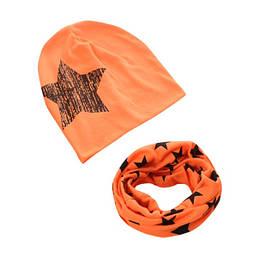 Набор шапка+хомут Star оранж 3445