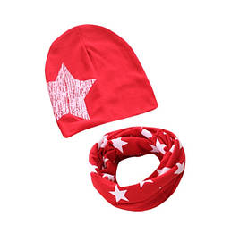 Набор шапка+хомут Star красный 3450