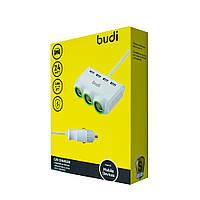 Car charger Budi 4 USB + 3 Car Sockets 24W 0.9m, M8J650