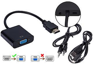 Конвертер відеосигналу UKC з HDMI на VGA + аудіо і USB живленням Black (3270)