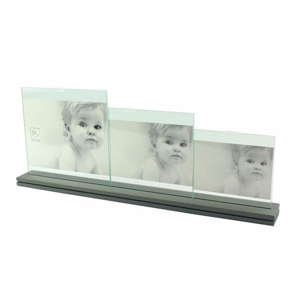 Фоторамка на три фотографии в оригинальной металлической подставке
