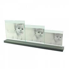 Фоторамка на три фотографії в оригінальній металевій підставці