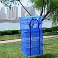 Сітка сушарка риби, фруктів, ягід на 5 секцій Синя, 50х50х100 см, складна сітка сушарка   сетка для сушки, фото 3