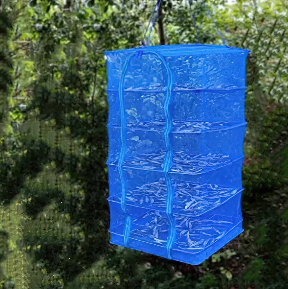 Сітка сушарка риби, фруктів, ягід на 5 секцій Синя, 50х50х100 см, складна сітка сушарка   сетка для сушки