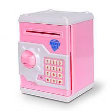 Дитяча скарбничка/сейф MK 3916 з купюропріємником (Рожевий)