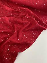 Муслін (бавовняна тканина) жатка Гліттер срібна зірочка на червоному (ширина 1,35 м)
