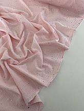 Муслін (бавовняна тканина) жатка Гліттер срібна зірочка на пудрі (ширина 1,35 м)
