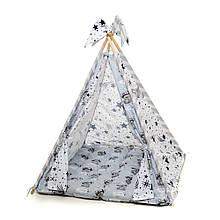 Детский вигвам шалаш игровая палатка для дома домик для детей Kospa Медведи Silver