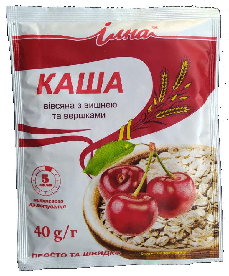 Каша овсяная с вишней и сливками 40 г. пакетик, ТМ Илна