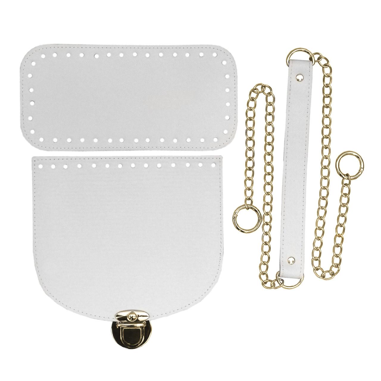 Набор для сумки экокожа Белый (4 позиции) на цепочке с кольцами-карабинами фурнитура золото