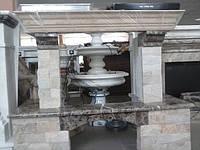 Камин из натурального камня+мрамор сдеревянной балкой