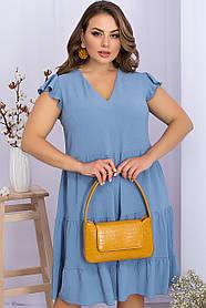 Платье летнее джинсового цвета хлопок жатка размер батал XL 2XL 3XL
