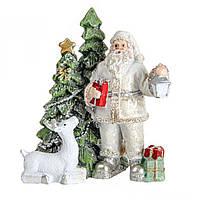 Новорічна статуетка (фігурка) Санта (Дід Мороз) з ліхтарем 8,5 см Декор і прикраса для дому