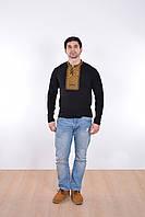 Мужская футболка вышиванка  с длинным рукавом с геометрическим орнаментом