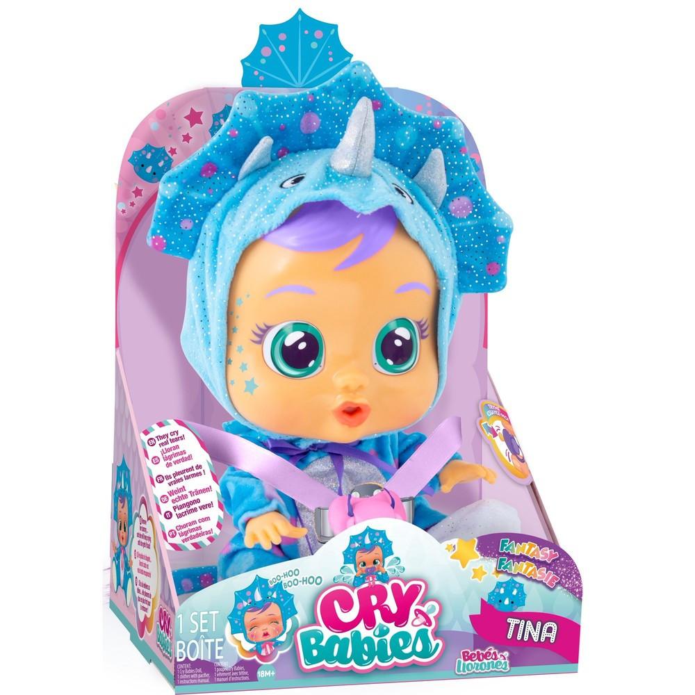 Інтерактивна лялька пупс cry babies tina тіна динозаврик