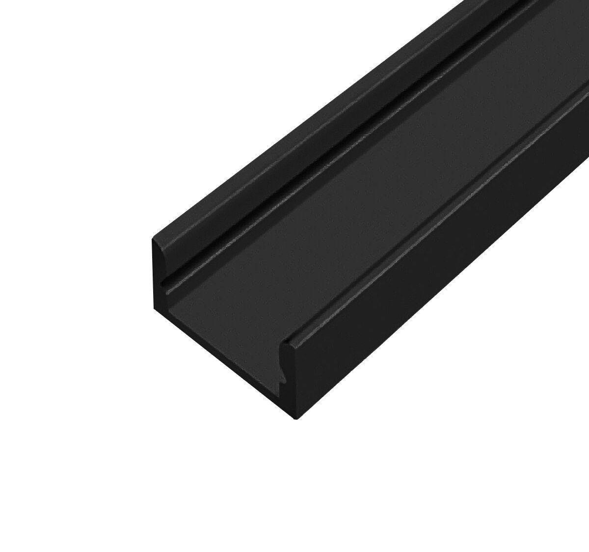 Профиль алюминиевый ЛП7 черный (комплект профиль + линза), 2м