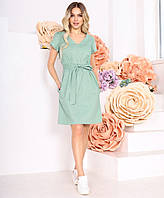 Свободное льняное платье с поясом и карманами