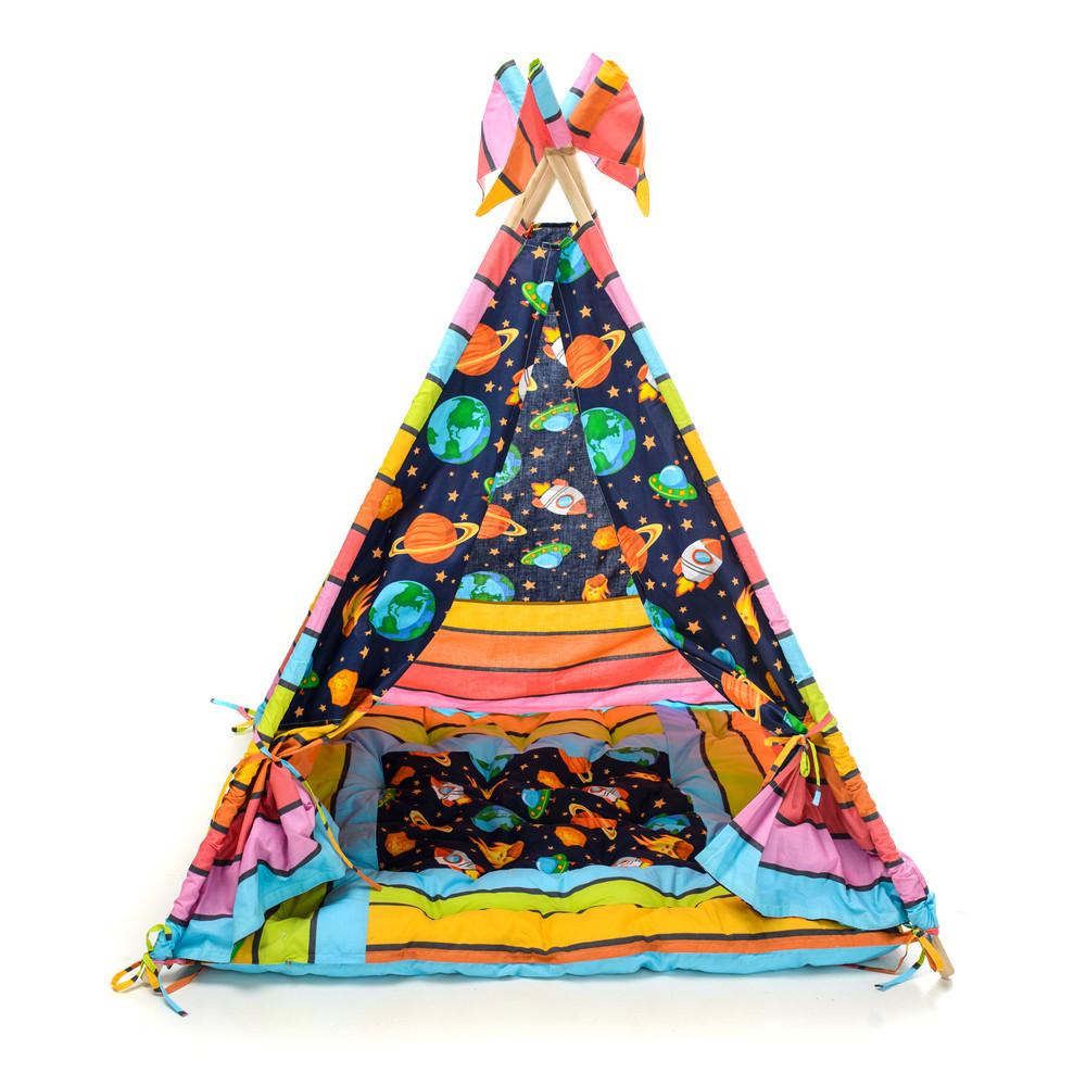 Детский вигвам шалаш игровая палатка для дома домик для детей Kospa Космос