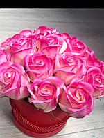 Букет з ніжних мильних троянд в коробці, фото 1