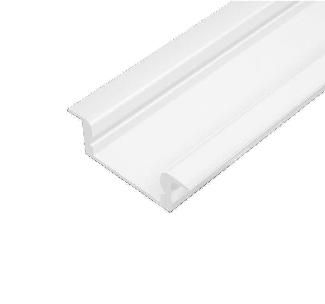 Профіль алюмінієвий врізний ЛПВ7 білий (комплект профіль+лінза), 2м