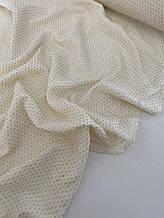 Муслін (бавовняна тканина) жатка Гліттер золота смужка на ванільному (ширина 1,35 м)