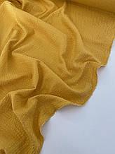 Муслін (бавовняна тканина) жатка Гліттер золота смужка на гірчиці (ширина 1,35 м)