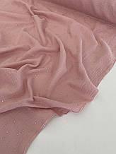 Муслін (бавовняна тканина) жатка Гліттер срібна точка на розі (ширина 1,35 м)