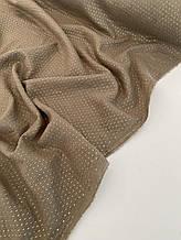 Муслін (бавовняна тканина) жатка Гліттер золота смужка на коричневому (ширина 1,35 м)