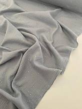 Муслін (бавовняна тканина) жатка Гліттер срібна точка на джинсі (ширина 1,35 м)