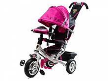 Велосипед Трехколесный детский обновленый Lambo розовый  (колеса пена +фара)