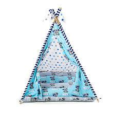 Детский вигвам шалаш игровая палатка для дома домик для детей Kospa Медведи Blue