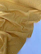 Муслін (бавовняна тканина) жатка Гліттер золота зірочка на гірчиці (ширина 1,35 м)