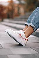 Женская обувь бежевого цвета Найк Аир Форс Шедоу. Кожаные кроссы Nike Air Force 1 Shadow Phantom для девушек.