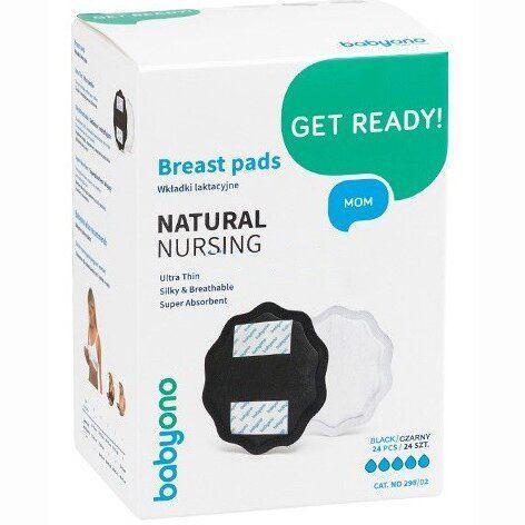Лактационные вкладки BabyOno Natural Nursing 24 шт Черные