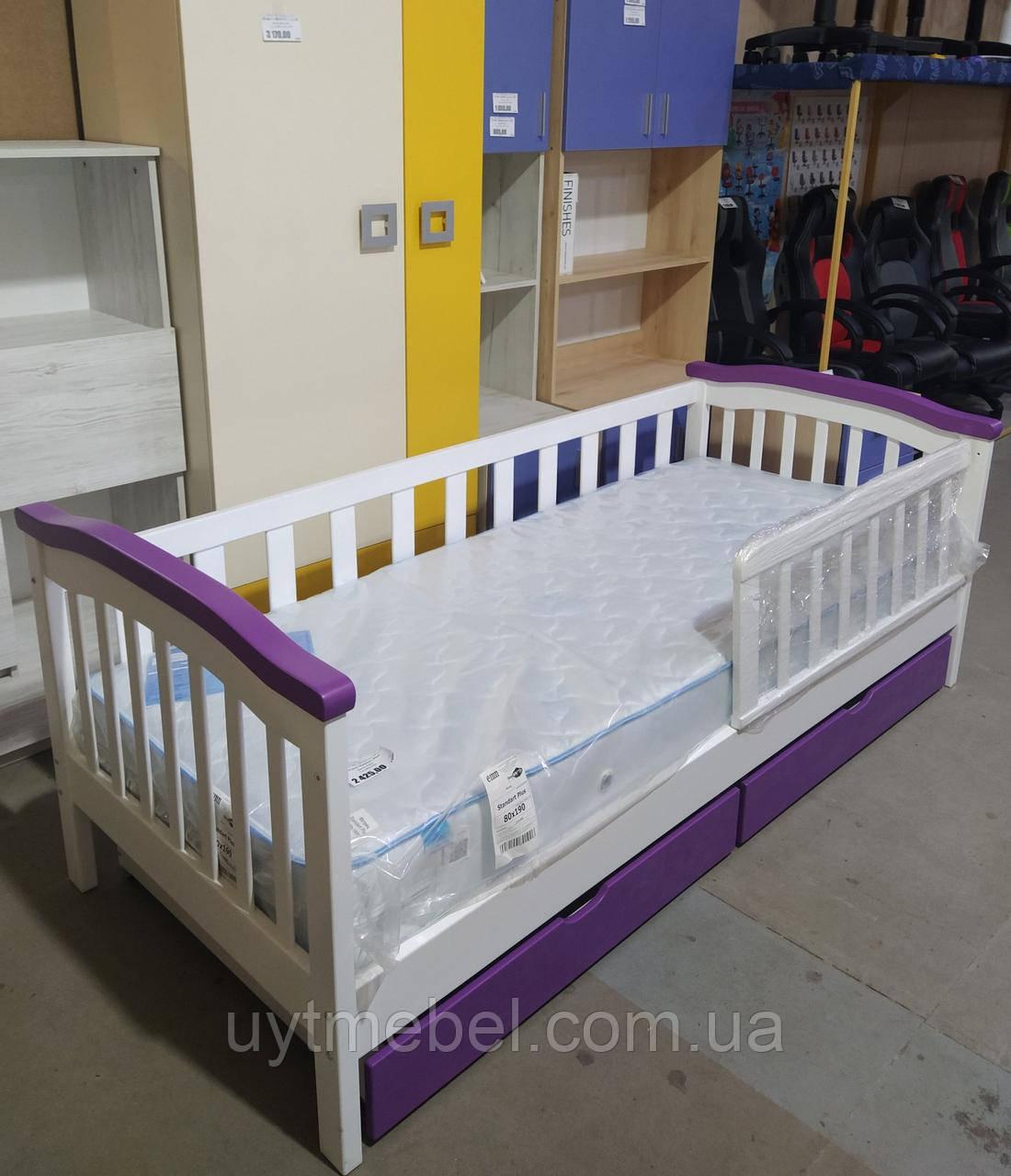 Ліжко Індиго 2 900х2100 дитяче+шух. білий+фіолет (Альбена)