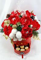 """Зимний букет из конфет в красной коробке """"Рубиновое сияние""""№11+9"""