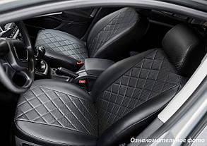 Чехлы салона Тойота Hilux VIII 2015- Эко-кожа, Ромб /черные 88957