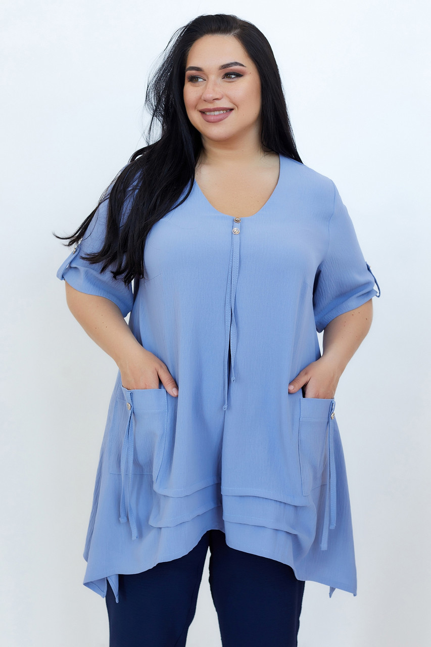 Блузка ТМ ALL POSA Амира голубой 54 (100703)