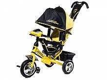 Велосипед Трехколесный детский обновленый Lambo желтый  (колеса пена +фара)