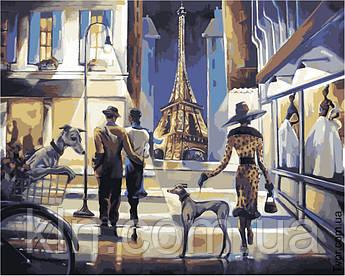 Картина за номерами без коробки Ідейка КНО2124 Прогулянка по вечірньому Парижу 40 х 50 см